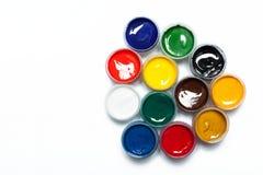 在瓶子的树胶水彩画颜料 库存照片