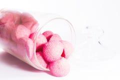 在瓶子的桃红色甜点 免版税库存图片