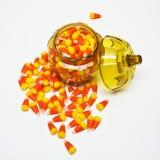 在瓶子的糖味玉米 免版税库存照片
