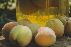 在瓶子的罐装桃子 库存图片