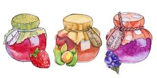 在瓶子的自创果酱 水彩 免版税库存图片