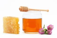 在瓶子的蜂蜜有浸染工的,蜂窝,在被隔绝的背景的花 免版税图库摄影