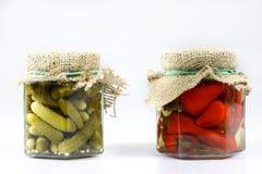 在瓶子的鲜美经验丰富的菜 有灰浆的厨房餐具室 W 免版税库存图片
