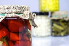 在瓶子的鲜美经验丰富的菜 有灰浆的厨房餐具室 W 库存图片
