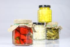 在瓶子的鲜美经验丰富的菜 有灰浆的厨房餐具室 W 免版税图库摄影