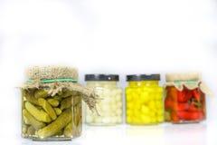 在瓶子的鲜美经验丰富的菜 有灰浆的厨房餐具室 W 库存照片