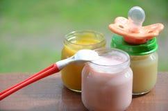 在瓶子纯汁浓汤的婴儿食品捣碎了在叶子背景的食物,与安慰者和匙子 免版税图库摄影