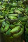 在瓶的保存黄瓜 免版税图库摄影