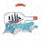 在瓶的帆船, 免版税库存照片