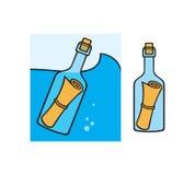 在瓶的消息 免版税图库摄影