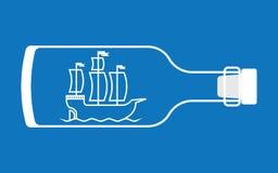 在瓶的船 免版税库存照片