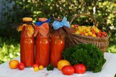 在瓶的西红柿汁 库存照片
