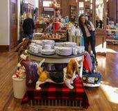 在瓷前面桌的贝塞猎狗雕象在先驱妇女的贸易在Pawhuska Okla 库存图片