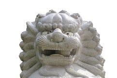 在瓷寺庙的狮子雕象 库存照片