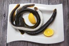 在瓷板材的新鲜的活鱼七腮鳗用柠檬 库存图片