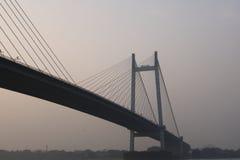 在甘加河,印度的Vidyasagar Setu桥梁 库存照片