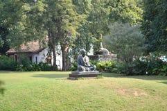 在甘地聚会所,艾哈迈达巴德的圣雄甘地雕象 库存图片