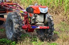 在甘蔗领域的拖拉机和拖车拖曳 库存照片