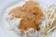 在甜咖喱汁,泰国食物的米线 库存照片