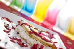 在甜甜地食物的油炸馅饼 库存照片