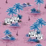 在甜紫色backgrou的夏天时髦的无缝的海岛样式 皇族释放例证