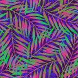 在生动的吹捧颜色的手画热带叶子在黑暗的backgound 库存例证