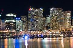 在生动的悉尼光节日期间的达令港 库存图片