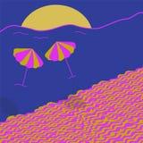 在生动的颜色的美丽的夏天海滩 库存例证
