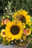 在生动的黄色和橙色颜色的向日葵花束 免版税库存图片