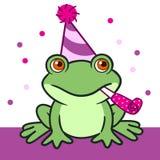在生日帽子的逗人喜爱的动画片青蛙 免版税图库摄影