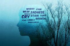 在生活概念的悲伤,当前由在形状o的沮丧的字词 图库摄影