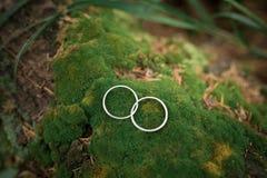 在生苔石头的婚戒 库存图片