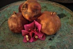 在生锈的盘子和花的石榴果子 免版税库存图片