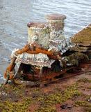 在生锈的码头的老停泊系船柱 库存照片