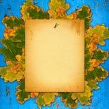 在生锈的金属墙壁上的老纸目录有明亮的秋天的 免版税库存照片