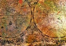 在生锈的金属的老地图 免版税库存照片
