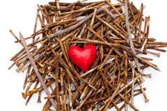 在生锈的钉子的红色心脏 库存照片