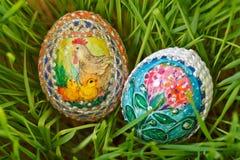 五颜六色的被绘的复活节彩蛋 库存照片