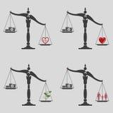 在生活的价值和金钱之间的平衡 免版税库存照片