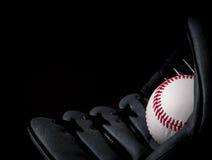 在手套的棒球 图库摄影
