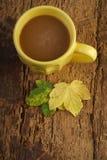 在用秋天装饰的木桌上的咖啡生叶 库存图片