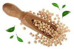 在用绿色叶子装饰的木瓢的大豆隔绝在白色背景顶视图 库存照片
