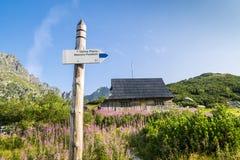 在用花装饰的草甸的木小屋Tatra山的 免版税库存照片