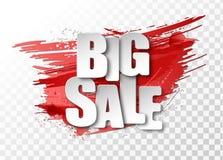 在用难看的东西做的红色背景的白色大销售3d纸标志抹上并且飞溅 免版税库存照片