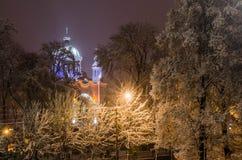 在用雪盖的树中的一个教会 图库摄影