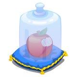 在用玻璃盖盖的枕头的被咬住的苹果 库存照片