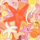 在甲壳动物的海星背景 免版税库存图片