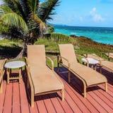 在甲板的懒人由沿海岸区多巴哥加勒比方形的compositon 库存图片