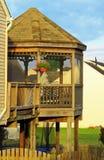 在甲板的木眺望台 免版税图库摄影