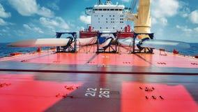 在甲板的船运载的刀片 免版税库存照片